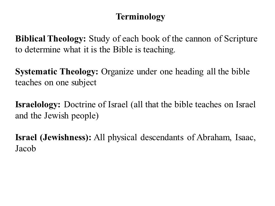 Terminology Biblical Theology: Study of each book of the cannon of Scripture to determine what it is the Bible is teaching.