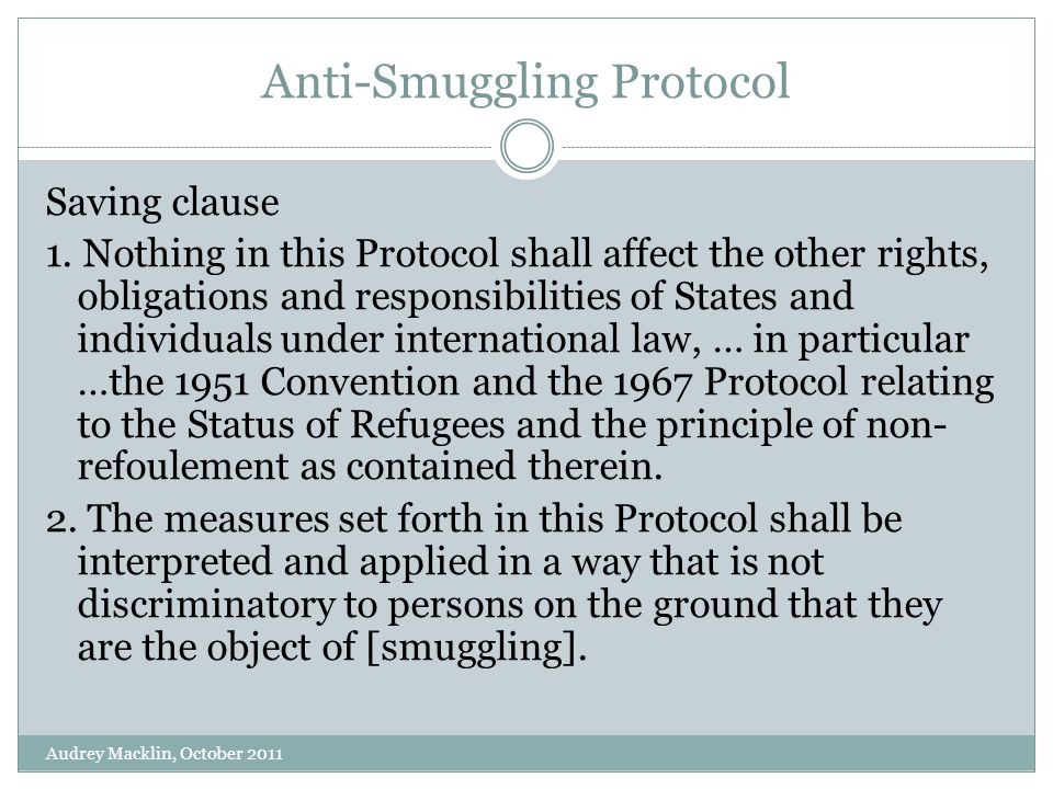 Anti-Smuggling Protocol Saving clause 1.
