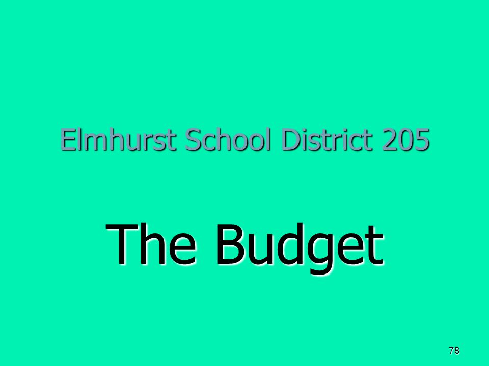 78 Elmhurst School District 205 The Budget