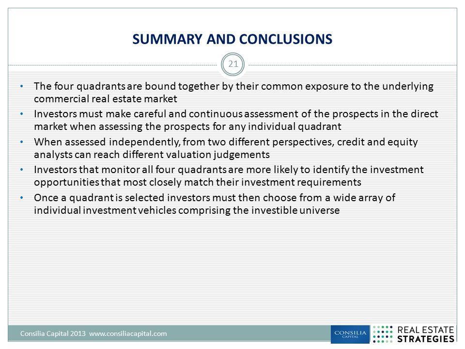 SUMMARY AND CONCLUSIONS Consilia Capital 2013 www.consiliacapital.com 21 The four quadrants are bound together by their common exposure to the underly