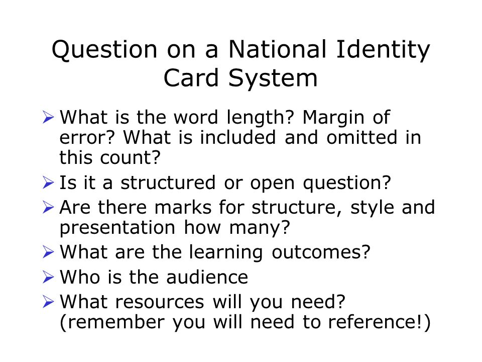 Question on a National Identity Card System  What is the word length.