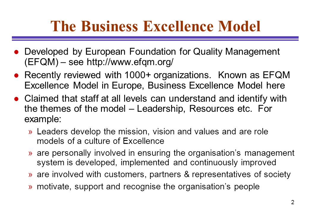 3 9 Areas of Business Excellence Model
