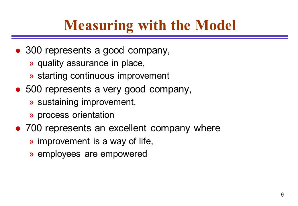 9 Measuring with the Model l 300 represents a good company, »quality assurance in place, »starting continuous improvement l 500 represents a very good