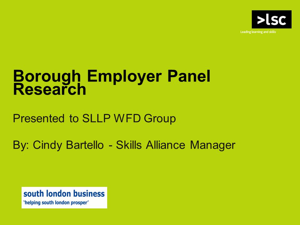 Borough Employer Panel Research Presented to SLLP WFD Group By: Cindy Bartello - Skills Alliance Manager