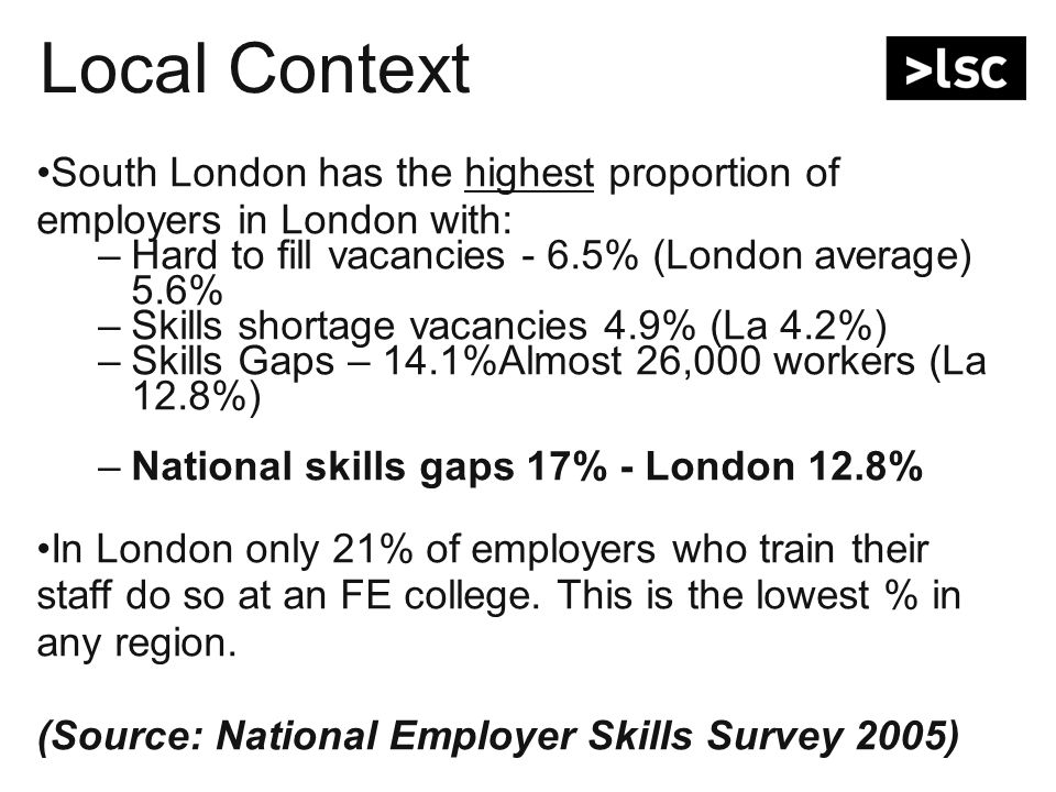 Local Context South London has the highest proportion of employers in London with: –Hard to fill vacancies - 6.5% (London average) 5.6% –Skills shortage vacancies 4.9% (La 4.2%) –Skills Gaps – 14.1%Almost 26,000 workers (La 12.8%) –National skills gaps 17% - London 12.8% In London only 21% of employers who train their staff do so at an FE college.
