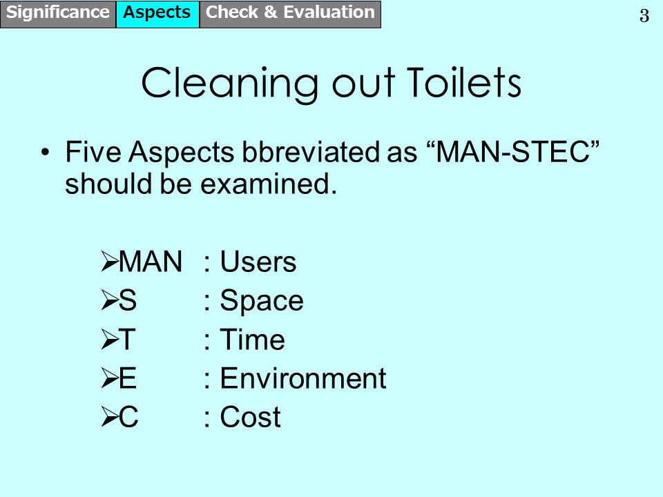4 MAN- Check Points  By whom the Toilets are to be used.