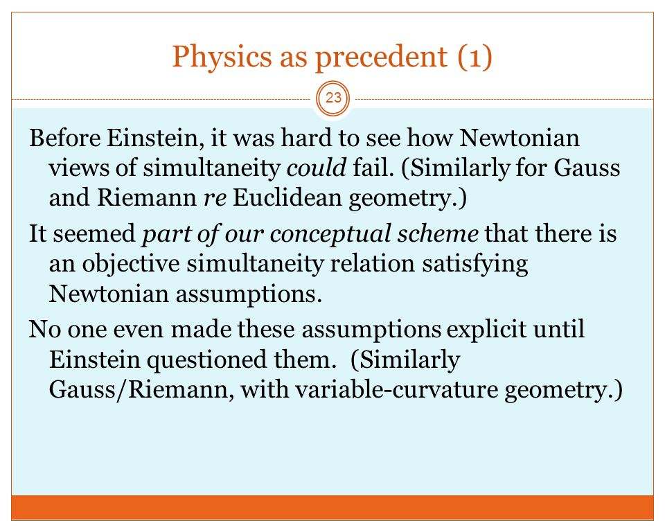 Physics as precedent (1) 23 Before Einstein, it was hard to see how Newtonian views of simultaneity could fail.