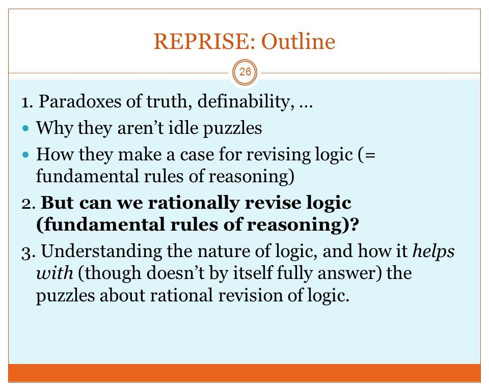REPRISE: Outline 26 1.