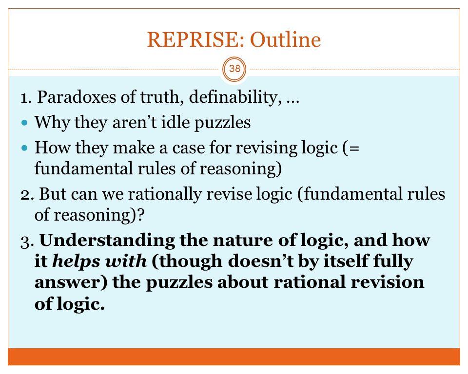 REPRISE: Outline 38 1.