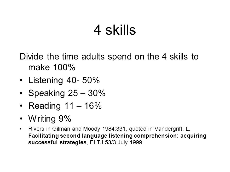 4 skills Divide the time adults spend on the 4 skills to make 100% Listening 40- 50% Speaking 25 – 30% Reading 11 – 16% Writing 9% Rivers in Gilman an