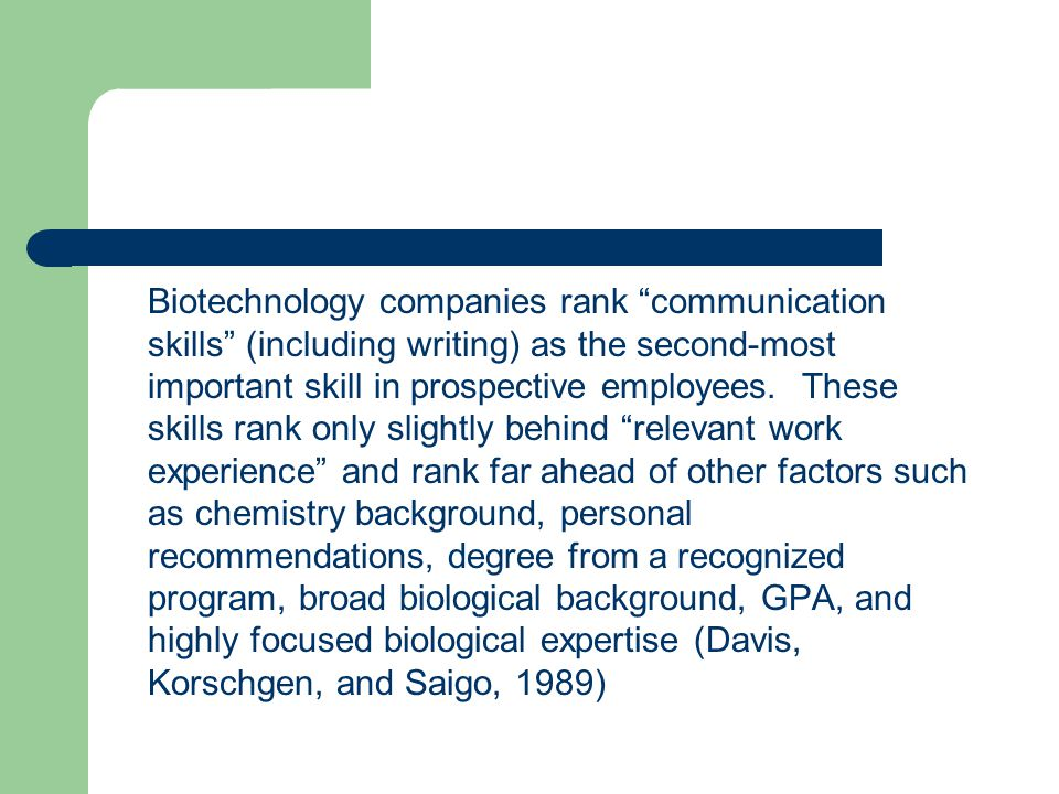 "Biotechnology companies rank ""communication skills"" (including writing) as the second-most important skill in prospective employees. These skills rank"