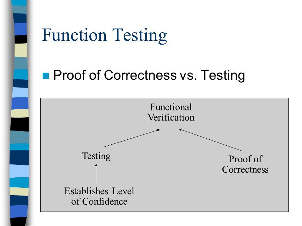 Function Testing Proof of Correctness vs. Testing Functional Verification Testing Establishes Level of Confidence Proof of Correctness