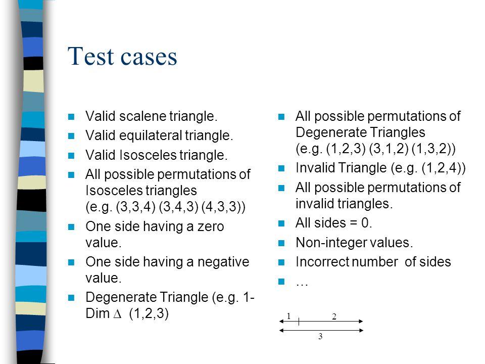 Test cases Valid scalene triangle. Valid equilateral triangle. Valid Isosceles triangle. All possible permutations of Isosceles triangles (e.g. (3,3,4