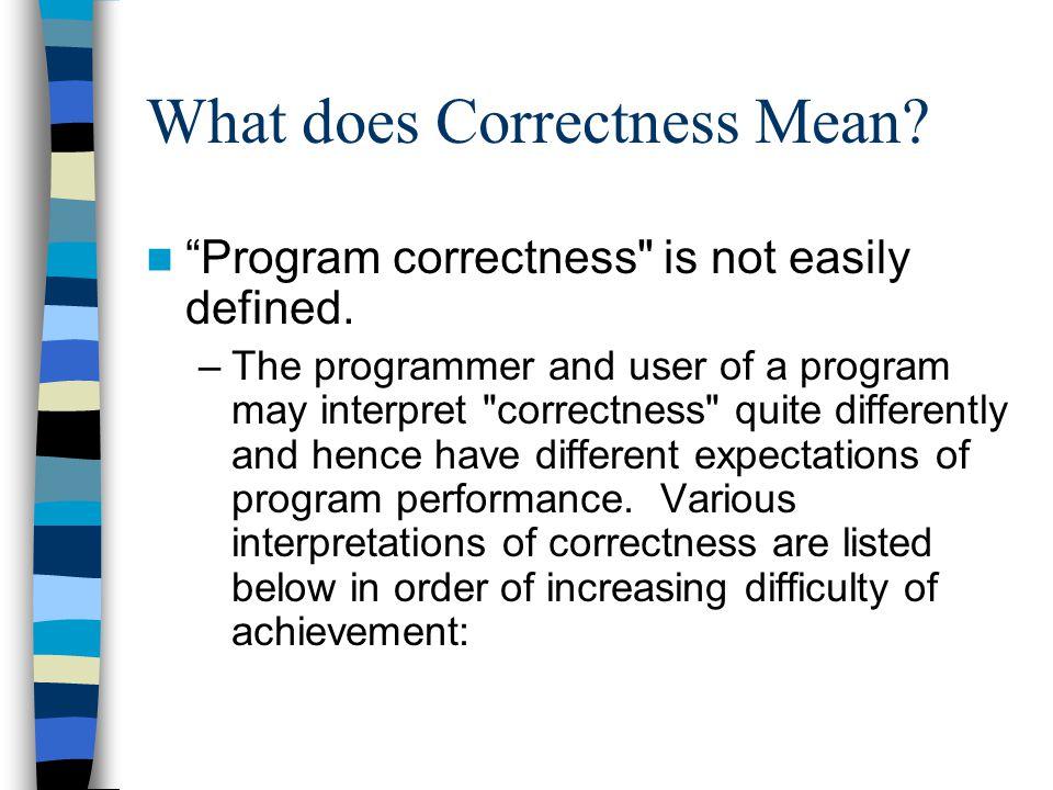 "What does Correctness Mean? ""Program correctness"
