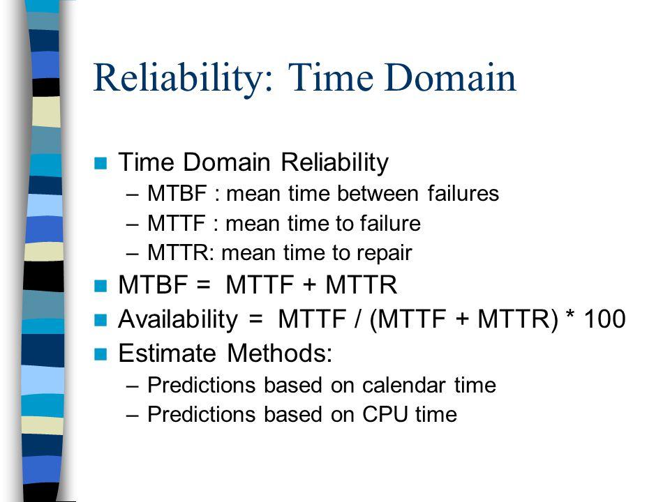 Reliability: Time Domain Time Domain Reliability –MTBF : mean time between failures –MTTF : mean time to failure –MTTR: mean time to repair MTBF = MTT