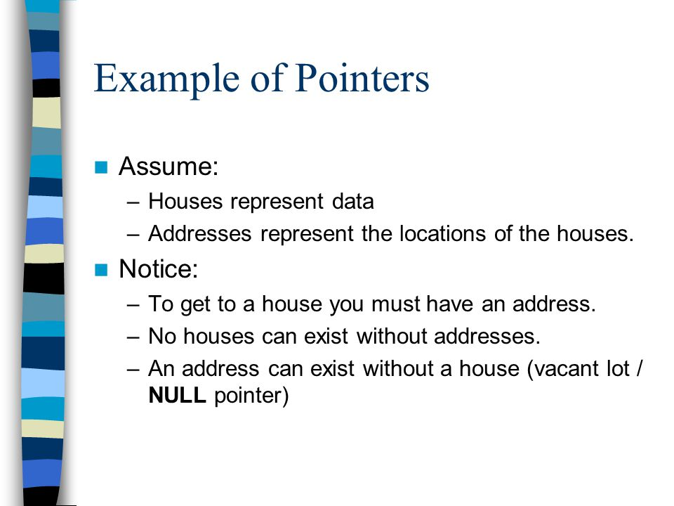 Example of Pointers Assume: –Houses represent data –Addresses represent the locations of the houses. Notice: –To get to a house you must have an addre