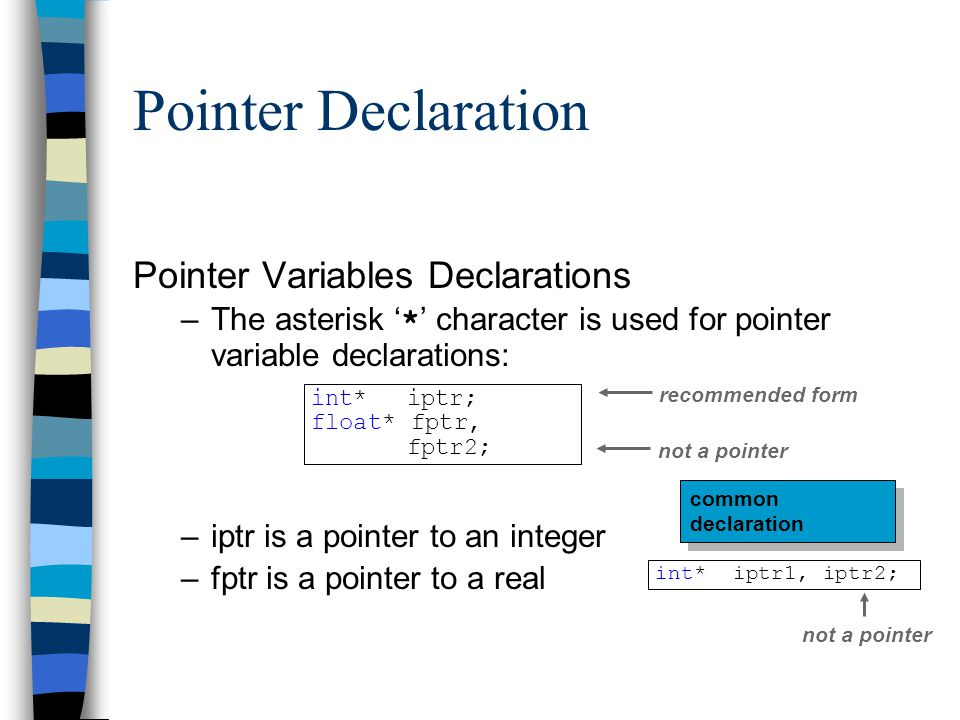 Pointer Declaration Pointer Variables Declarations –The asterisk ' * ' character is used for pointer variable declarations: –iptr is a pointer to an i
