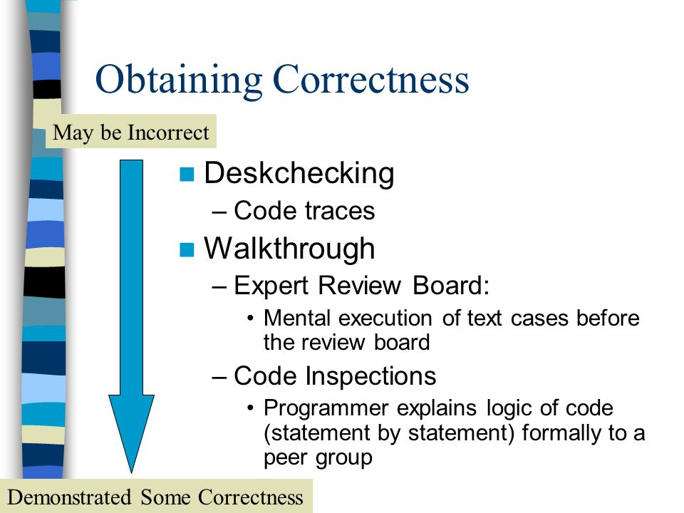 Correctness is Unobtainable Testing –Case data –Computer aided Proof –Formal (mathematical) Proven Correct Demonstrated Some Correctness