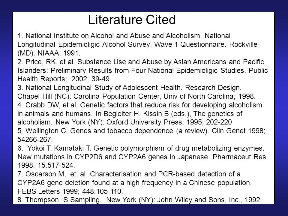 Literature Cited 1. National Institute on Alcohol and Abuse and Alcoholism.