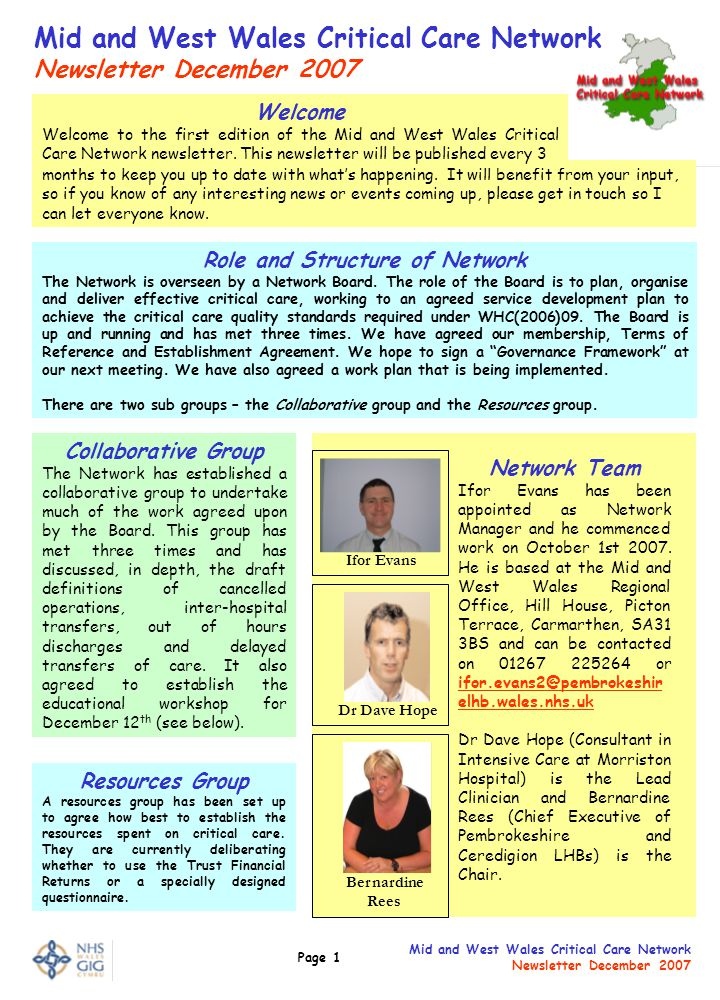Page 1 Mid and West Wales Critical Care Network Newsletter December 2007 Mid and West Wales Critical Care Network Newsletter December 2007 Role and Structure of Network The Network is overseen by a Network Board.