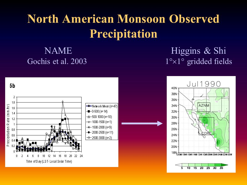 North American Monsoon Observed Precipitation NAME Higgins & Shi Gochis et al.
