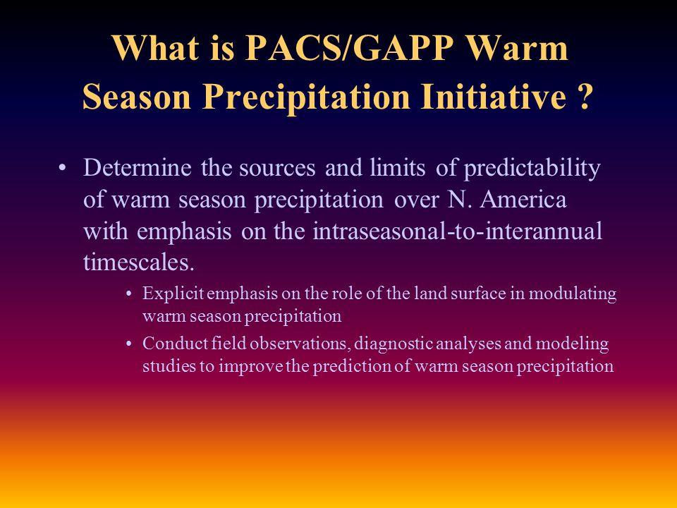 PACS/GAPP Warm Season Precipitation Research: Motivating Questions How can PACS/GAPP research drive improvements in simulating warm season precipitation.