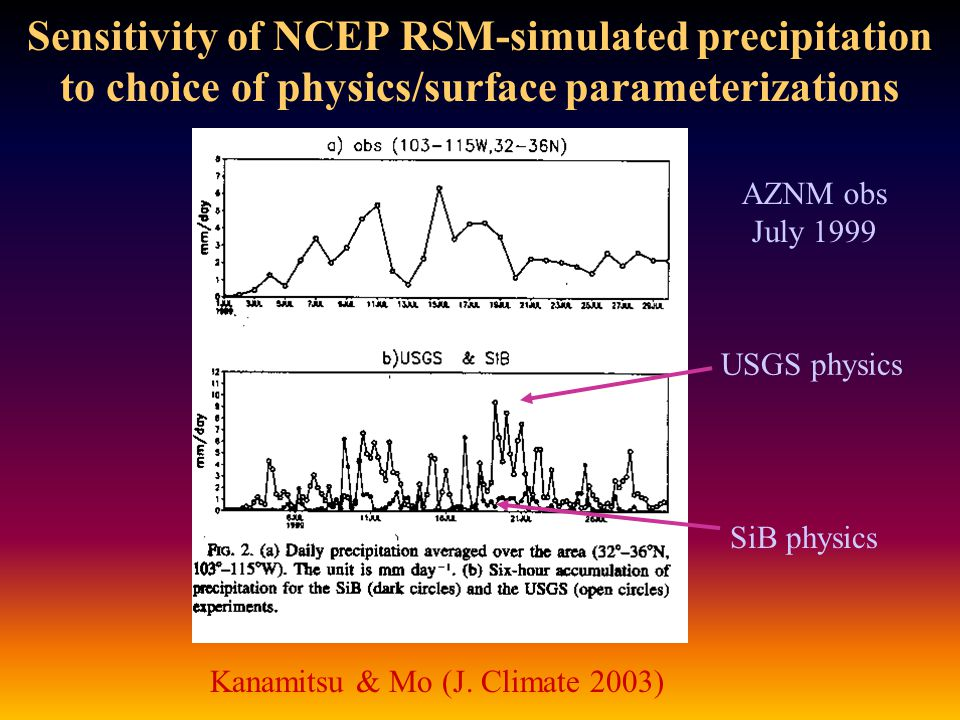 Sensitivity of NCEP RSM-simulated precipitation to choice of physics/surface parameterizations Kanamitsu & Mo (J.