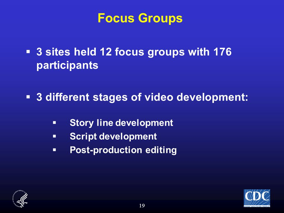 19 Focus Groups  3 sites held 12 focus groups with 176 participants  3 different stages of video development:  Story line development  Script development  Post-production editing