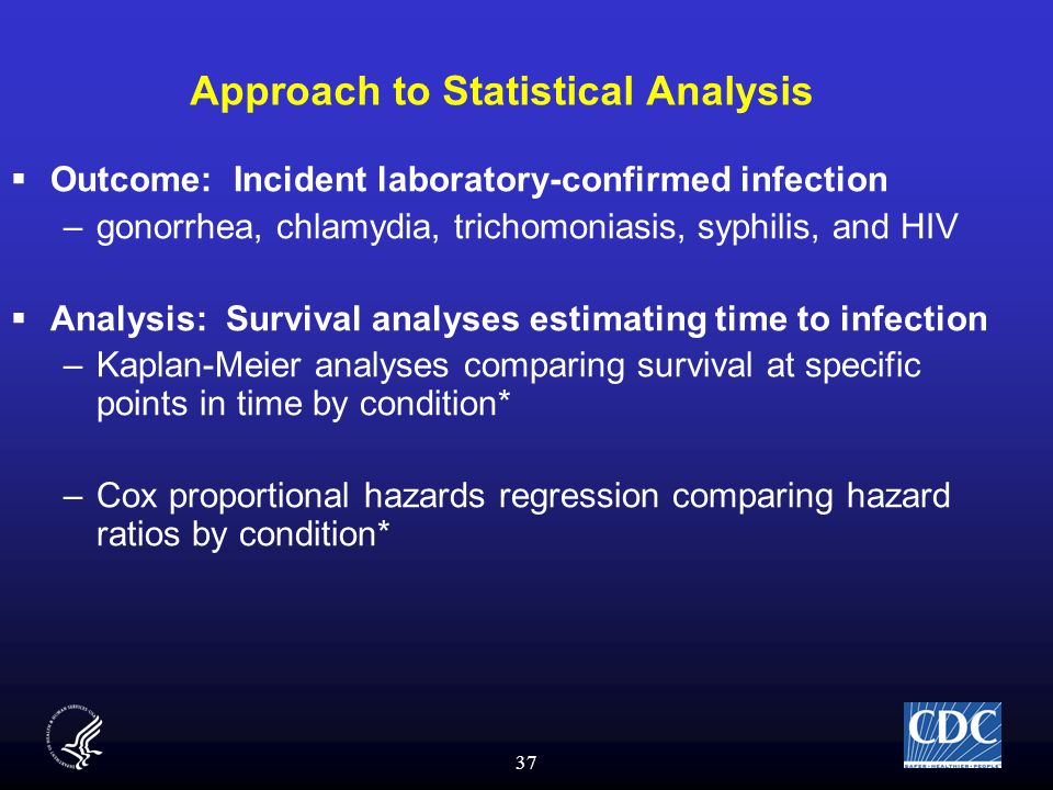 37 Approach to Statistical Analysis  Outcome: Incident laboratory-confirmed infection –gonorrhea, chlamydia, trichomoniasis, syphilis, and HIV  Analysis: Survival analyses estimating time to infection –Kaplan-Meier analyses comparing survival at specific points in time by condition* –Cox proportional hazards regression comparing hazard ratios by condition*