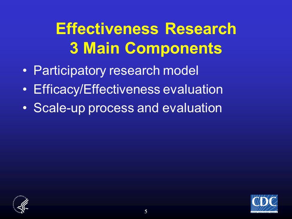5 Effectiveness Research 3 Main Components Participatory research model Efficacy/Effectiveness evaluation Scale-up process and evaluation