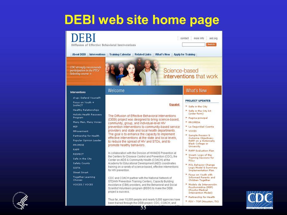 55 DEBI web site home page