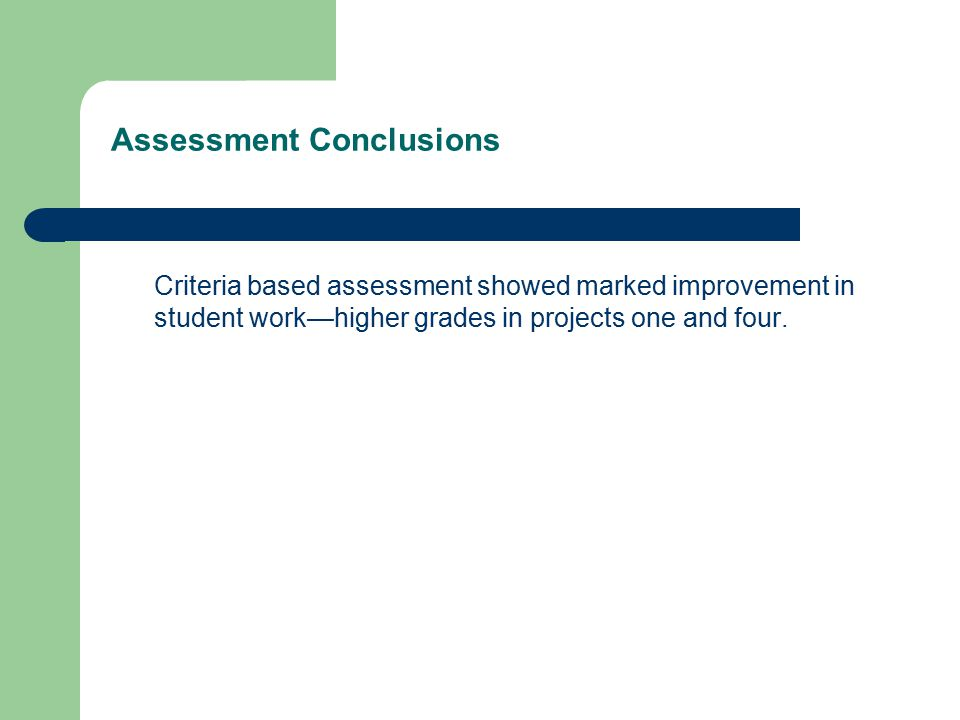 Assessment Conclusions Criteria based assessment showed marked improvement in student work—higher grades in projects one and four.