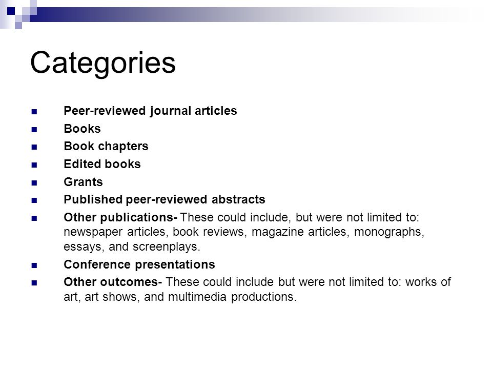 Categories Peer-reviewed journal articles Books Book chapters Edited books Grants Published peer-reviewed abstracts Other publications- These could include, but were not limited to: newspaper articles, book reviews, magazine articles, monographs, essays, and screenplays.