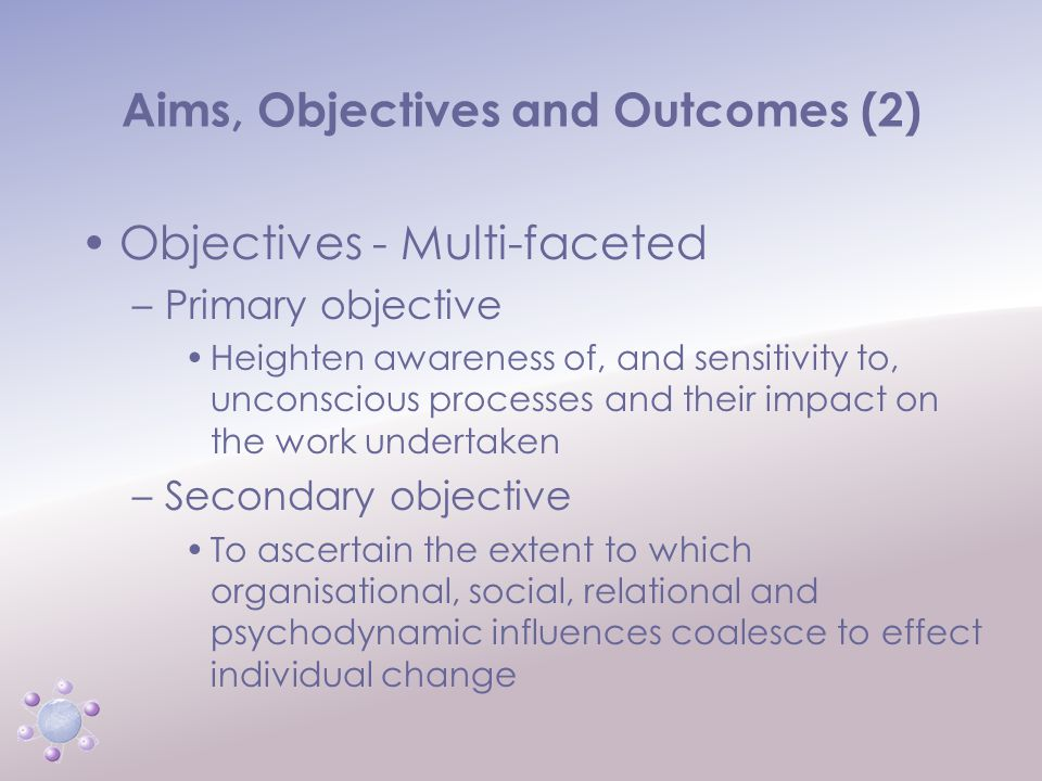 www.icbcoaching.com Aims, Objectives and Outcomes (2) Objectives - Multi-faceted –Primary objective Heighten awareness of, and sensitivity to, unconscious processes and their impact on the work undertaken –Secondary objective To ascertain the extent to which organisational, social, relational and psychodynamic influences coalesce to effect individual change