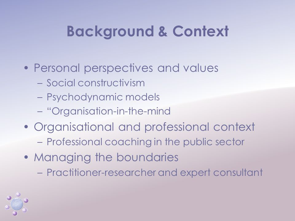 www.icbcoaching.com Project Design and Methodologies Personal perspectives, epistemology and ontology – closely woven together Researcher's perspective –Marriage of organisation-in-the-mind and TA contracting –Social constructivism –TA theory of personality –Systems theory and the psychoanalysis of organisations