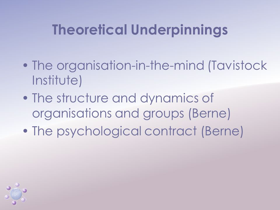 www.icbcoaching.com Theoretical Underpinnings The organisation-in-the-mind (Tavistock Institute) The structure and dynamics of organisations and group