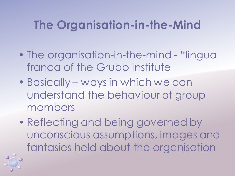 www.icbcoaching.com The Organisation-in-the-Mind Any organisation is composed of diverse fantasies and projections of its members.