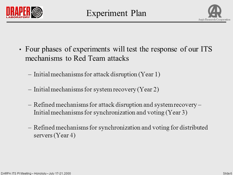 DARPA ITS PI Meeting – Honolulu – July 17-21, 2000Slide 6 Aegis Research Corporation Experiment Plan Four phases of experiments will test the response of our ITS mechanisms to Red Team attacks –Initial mechanisms for attack disruption (Year 1) –Initial mechanisms for system recovery (Year 2) –Refined mechanisms for attack disruption and system recovery – Initial mechanisms for synchronization and voting (Year 3) –Refined mechanisms for synchronization and voting for distributed servers (Year 4)