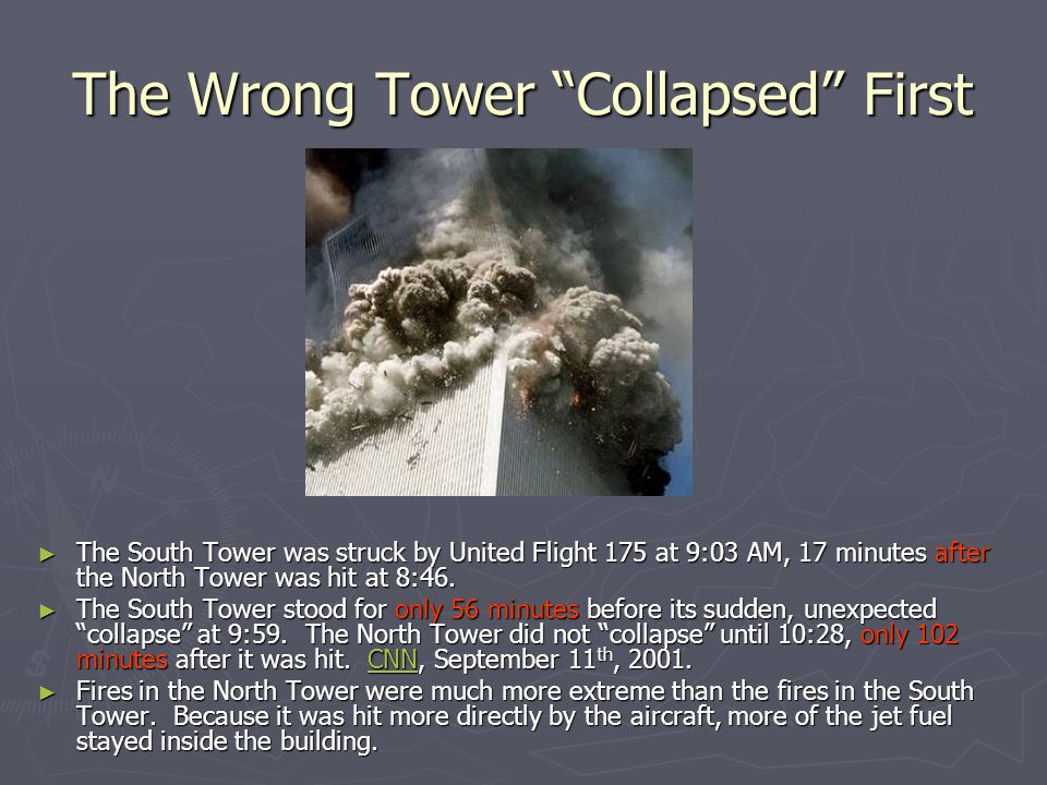 """The Wrong Tower """"Collapsed"""" First ► The South Tower was struck by United Flight 175 at 9:03 AM, 17 minutes after the North Tower was hit at 8:46. ► Th"""
