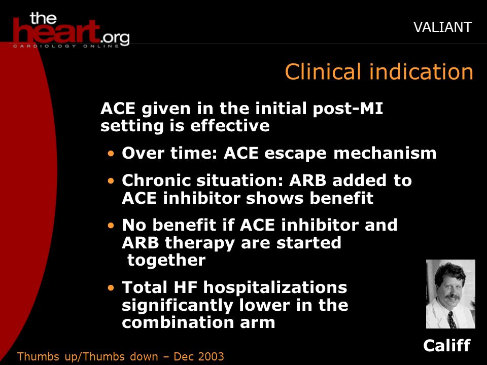 Thumbs up/Thumbs down – Dec 2003 Clinical indication ACE given in the initial post-MI setting is effective Over time: ACE escape mechanism Chronic situation: ARB added to ACE inhibitor shows benefit No benefit if ACE inhibitor and ARB therapy are started together Total HF hospitalizations significantly lower in the combination arm Califf VALIANT