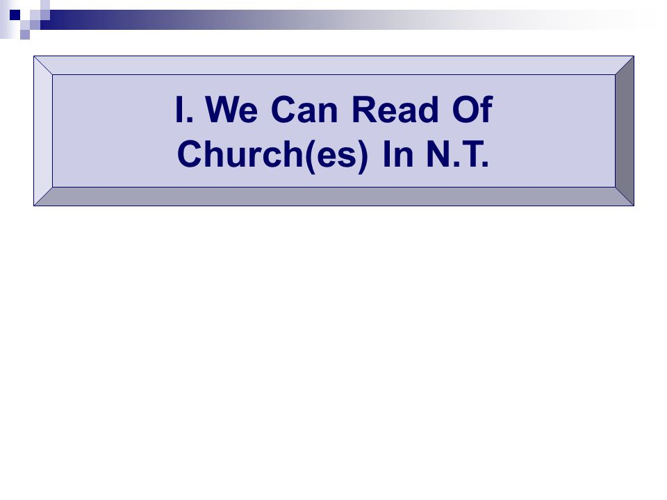 I. We Can Read Of Church(es) In N.T.