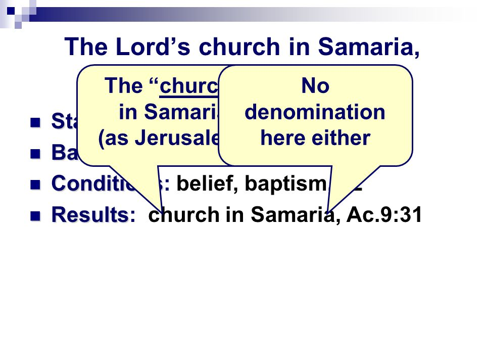 The Lord's church in Samaria, Acts 8 Standard Standard: Word, 4; 6; 14; 25 Basis Basis: Jesus, 5. Exalted, 12 Conditions Conditions: belief, baptism,