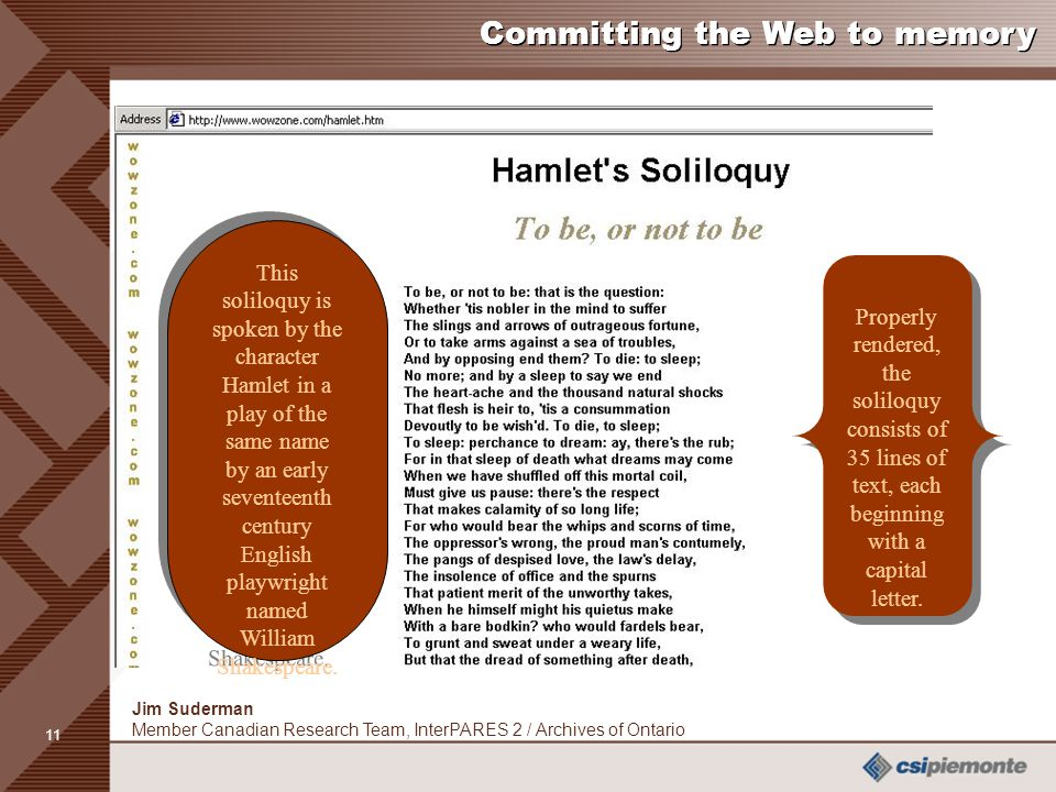 11 Jim Suderman Member Canadian Research Team, InterPARES 2 / Archives of Ontario Committing the Web to memory This soliloquy is spoken by the character Hamlet in a play of the same name by an early seventeenth century English playwright named William Shakespeare.