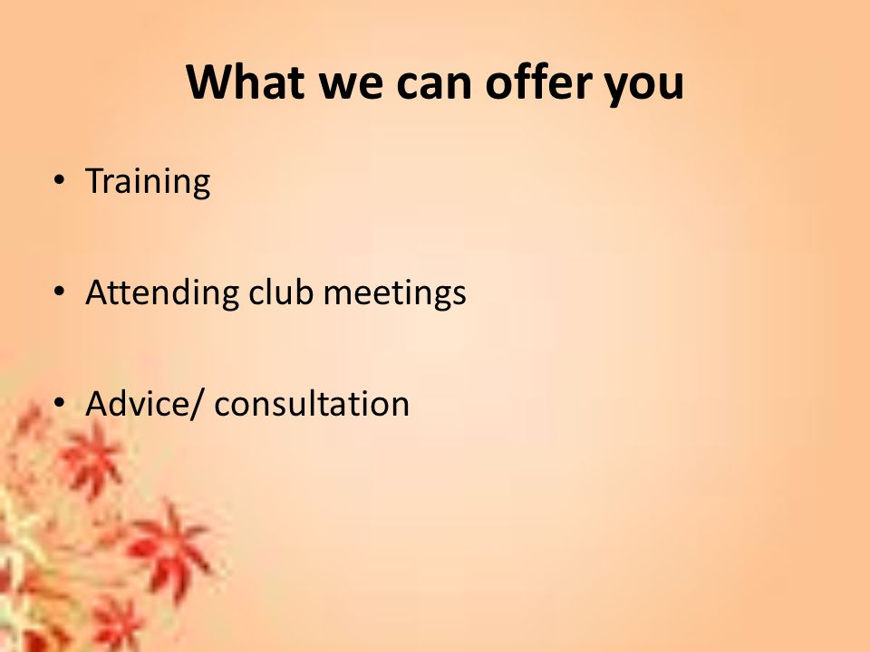 What we can offer you Training Attending club meetings Advice/ consultation