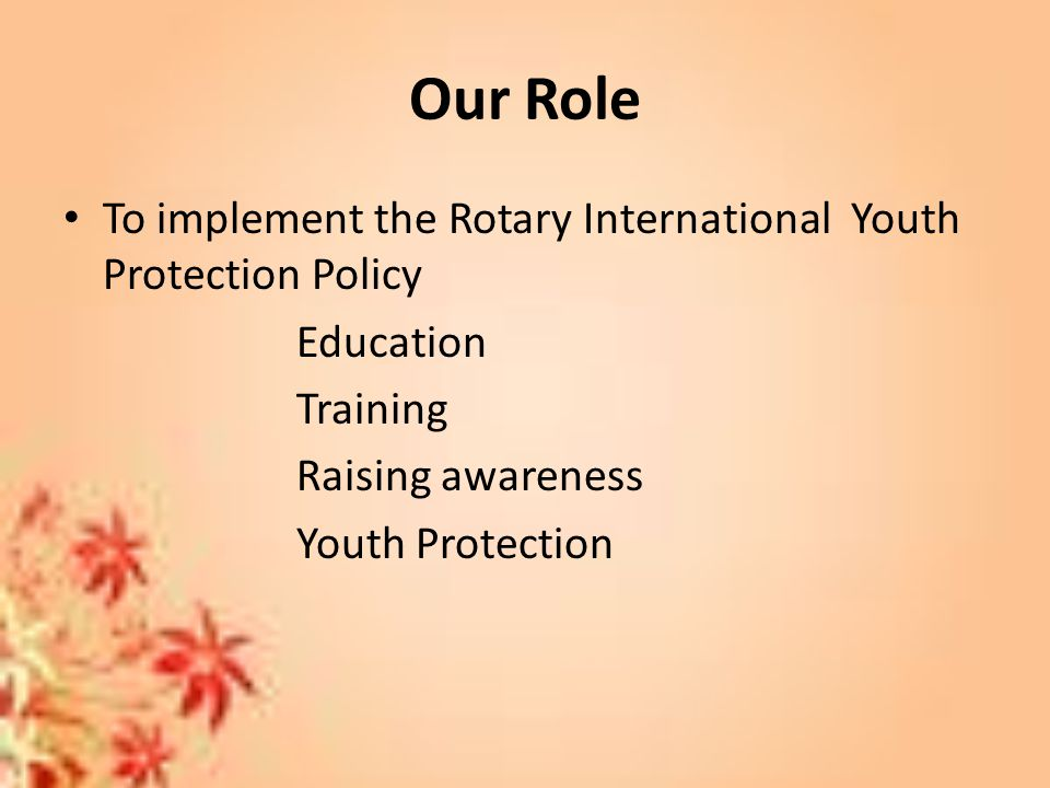 Our Role To implement the Rotary International Youth Protection Policy Education Training Raising awareness Youth Protection