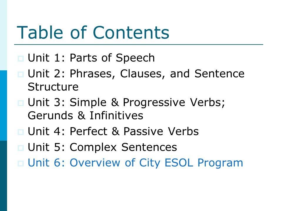 Table of Contents  Unit 1: Parts of Speech  Unit 2: Phrases, Clauses, and Sentence Structure  Unit 3: Simple & Progressive Verbs; Gerunds & Infinitives  Unit 4: Perfect & Passive Verbs  Unit 5: Complex Sentences  Unit 6: Overview of City ESOL Program