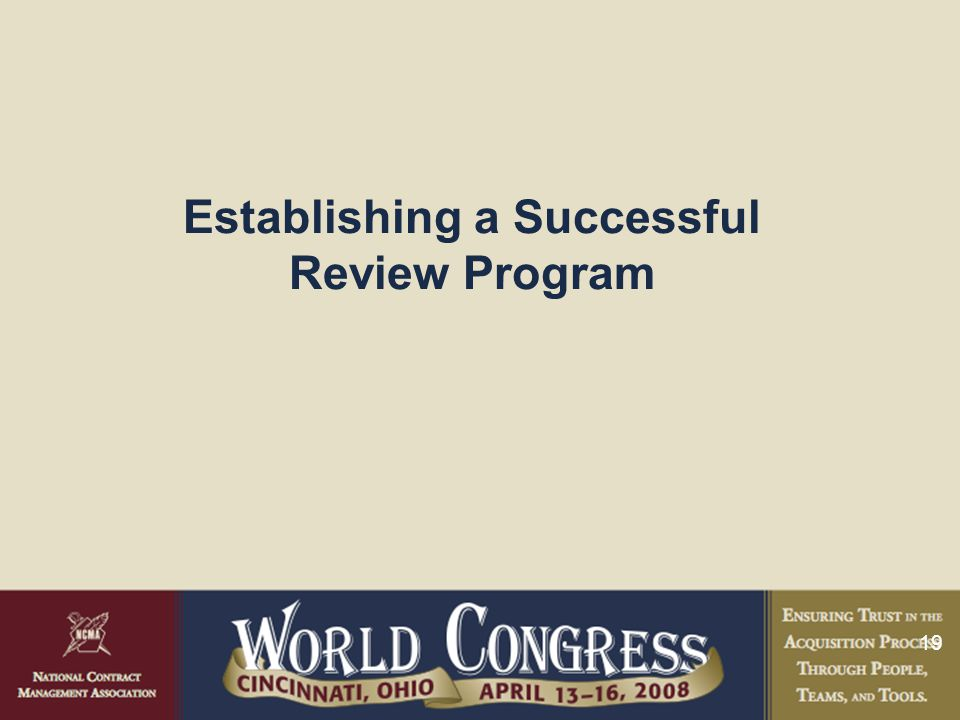 19 Establishing a Successful Review Program