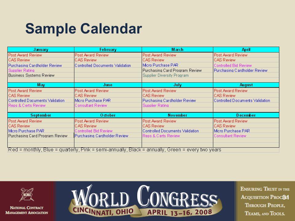31 Sample Calendar