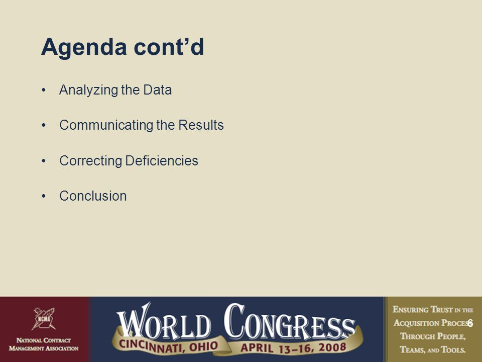 6 Agenda cont'd Analyzing the Data Communicating the Results Correcting Deficiencies Conclusion