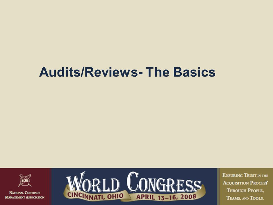 7 Audits/Reviews- The Basics